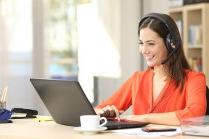 Working woman from home on teleconference